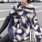 Patterned Sweater Dress As Shown In Figure - One Size