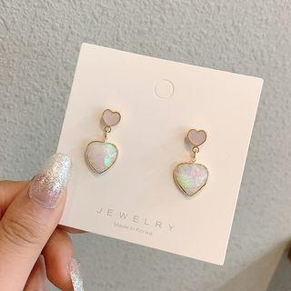 Heart Drop Earring 1 Pair - Pink - One Size
