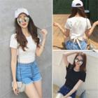 Tie Back Cropped Short Sleeve T-shirt