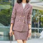 Double-breasted Plaid Blazer / Pencil Skirt / Set