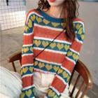 Heart Pattern Long-sleeve Knit Top