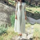 Lace Panel Elbow-sleeve A-line Chiffon Dress