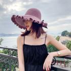 Ruffle Trim Knit Sun Hat