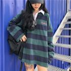 Long-sleeve Striped Oversized Polo Shirt As Shown In Figure - One Size