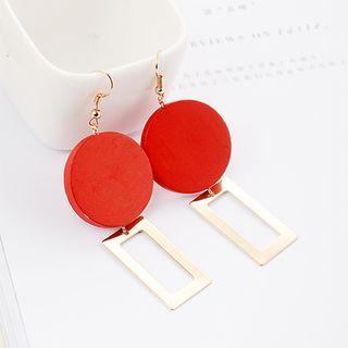 Wooden Dangle Earring 1 Pair - Wooden Dangle Earring - Red - One Size