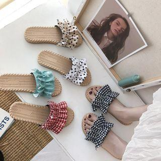 Patterned Ruffle Slide Slippers