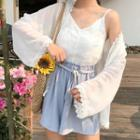 Lace Trim Camisole Top / Light Jacket / Shorts