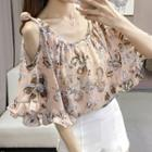 Floral Print Cut Out Shoulder Elbow Sleeve Chiffon Blouse