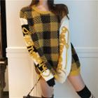 Printed Checked Knit Top Yellow - One Size