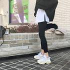 Inset Contrast Miniskirt Napped-lining Leggings