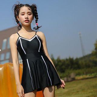 Strappy Contrast-trim Swim Dress