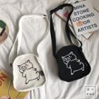 Cartoon Piggy Print Canvas Crossbody Bag