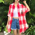 Rose Embroidered Gingham Long Shirt