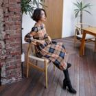 Mock-neck Checked Midi Dress With Sash