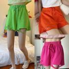 Cutout Drawstring Shorts