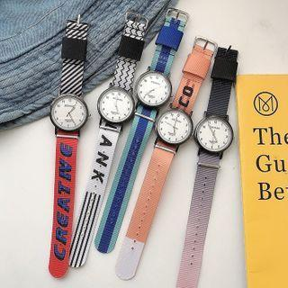 Lettering Canvas Strap Watch