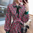 Patterned Long-sleeve Chiffon Midi Dress