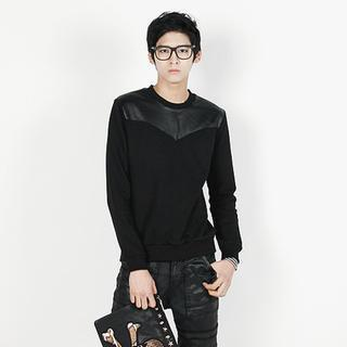 Faux Leather Panel Pullover