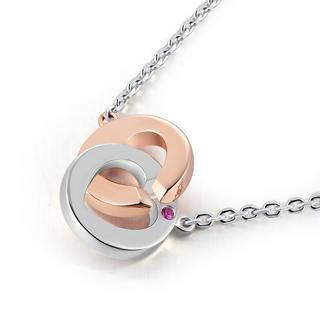 925 Sterling Silver Interlock Rings Pink Sapphire Love Lock Two Tone Necklace (16)
