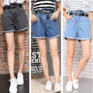 High Waist Wide Leg Denim Shorts With Belt