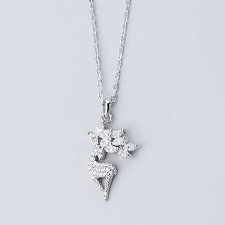 925 Sterling Silver Rhinestone Deer Pendant Necklace S925 Silver - Necklace - One Size