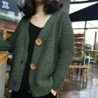 Ribbed Knit V-neck Cardigan