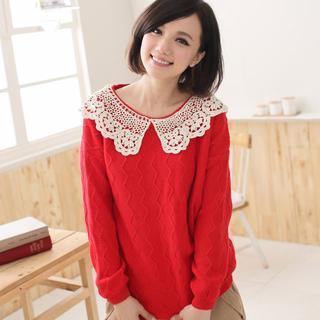 Crochet-collar Sweater
