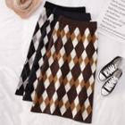 High-waist Diamond Check Midi Skirt