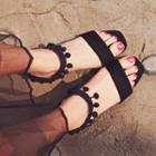 Pompom-trim Chunky-heel Sandals