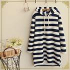 Striped Hooded Long Pullover