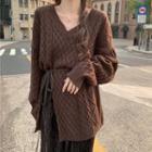 Cable Knit Sweater / Midi A-line Velvet Skirt