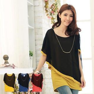 Color-block Two-tone Long Top