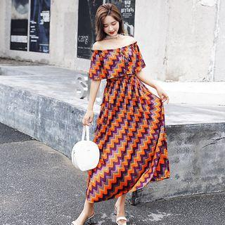 Off-shoulder Elbow-sleeve Maxi Dress