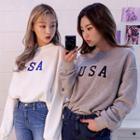 Lettering-appliqu  Cotton Sweatshirt