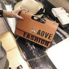 Lettering Chain Strap Shoulder Bag