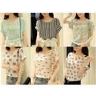 Printed Short Sleeve Chiffon Top