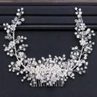 Wedding Faux Pearl Rhinestone Hair Comb Silver - One Size