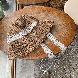 Lace-trim Woven Hat Brown - One Size