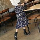 Accordion-pleat Floral Pattern Skirt