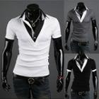 Inset Shirt Short Sleeve V-neck Top