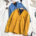 Corduroy Mock Two-piece Shirt