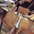 Set Of 3: Faux-leather Tote Bag + Shoulder Bag + Clutch