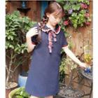 Contrast Trim Short-sleeve Collared Dress
