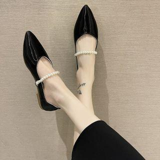 Faux Pearl Strap Pointy Flats