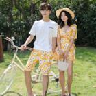 Couple Matching Floral Print Beach Short / Short-sleeve Swimdress