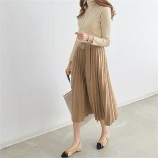 Set: Turtle-neck Knit Top + Accordion-pleat Long Skirt + Belt