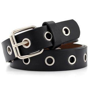 Faux Leather Grommet Belt