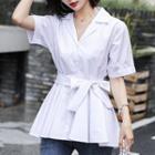 Plain Short-sleeve Tie-waist Blouse