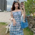 Sleeveless Plaid Mini Dress / Elbow-sleeve Plain Light Cardigan