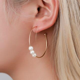 3 Pair Set: Alloy / Faux Pearl Earring (assorted Designs) 1 Pair - 01 - Kc Gold - One Size